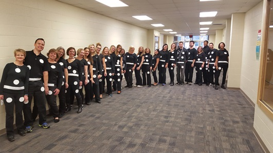 Brookwood Teachers show off their domino outfits!