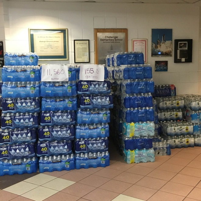 A large collection of water that will be sent to Flint. All collected by the Kentwood School District, including Brookwood!