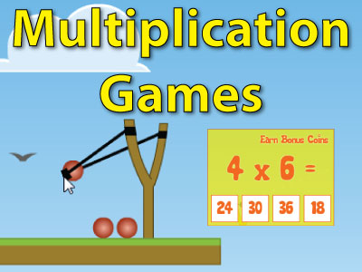 Multiplication Games Earn Bonus Coins 4x6= 24 30 36 18 Shows picture of a slingshot with three red balls and a bird flying in the distances